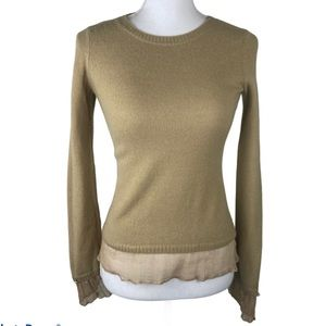 Anthropologie Moth Gold Sweater,Women's Size Small